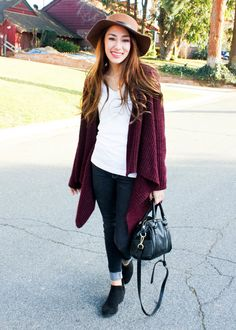 Camel Fedora Hat with Plum Cardigan, white v-neck t-shirt, black jeans and black booties  Moo's Musing Outfit Inspiration