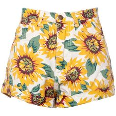 Choies Sunflower Print High Waist Denim Shorts in White