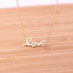 handwritten love necklace, gold