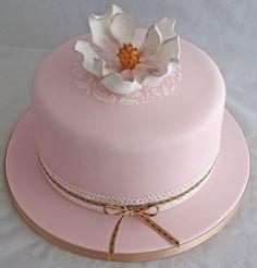 Vintage pale pink lace magnolia birthday cake. #vintage #magnolia #lace