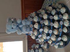 My baby shower cupcake tower Bears, blue decor Baby Shower Cupcakes For Boy, Baby Shower Snacks, Baby Shower Decorations For Boys, Boy Baby Shower Themes, Baby Shower Fun, Baby Shower Centerpieces, Baby Shower Gifts, Boy Shower, Gateau Baby Shower Garcon