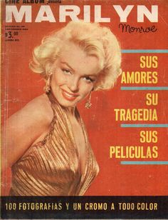 Cine Album - September 1962, magazine from Mexico. Tribute magazine dedicated entirely to Marilyn Monroe. Front cover photo of Marilyn by Gene Kornman, 1953.