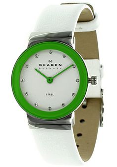 Women's White Dial White Leather