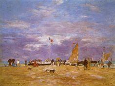 Eugène Boudin (1824-1898) - Het havenhoofd van Deauville - Olieverf op hout - 23,5 x 32,5 cm - 1869 - Musée D'Orsay
