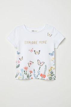 T-shirt with Printed Design - White/butterflies - Kids Fashion Kids, Toddler Boy Fashion, Fashion Outfits, Butterfly Shirts, Butterfly Kids, Cute Girl Outfits, Kids Outfits, H & M Kids, Kids Prints