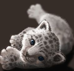 Baby snow leopard - digital art by Athena Erocith