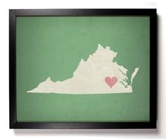 State Love Virginia (Pictured In Moss) Giclee, Art Print 8 x 10. $9.99, via Etsy.