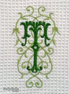 Waffle weave towel with monogram in greens. NellyBelle Designs