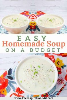 Have you ever had plenty of mash potatoes leftover and not known what to do with them? Today on the blog we are sharing our budget recipe for Easy Homemade Potato Soup. Easy Family Meals, Frugal Meals, Budget Meals, Easy Meals, Family Recipes, Easy Homemade Potato Soup Recipe, Easy Homemade Soups, Low Carb Soup Recipes, Paleo Recipes