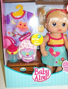 Exclusive Baby Alive Dress 'n Slumber Drink & Wet Doll Baby Alive Doll Clothes, Baby Born Clothes, Baby Alive Dolls, Baby Dolls For Kids, Baby Girl Toys, Toys For Girls, Baby Alive Magical Scoops, Muñeca Baby Alive, Baby Doll Diaper Bag