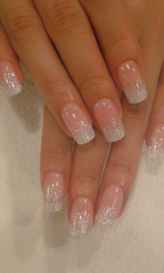 Very pretty white glittered tips. Would be perfect for a bride