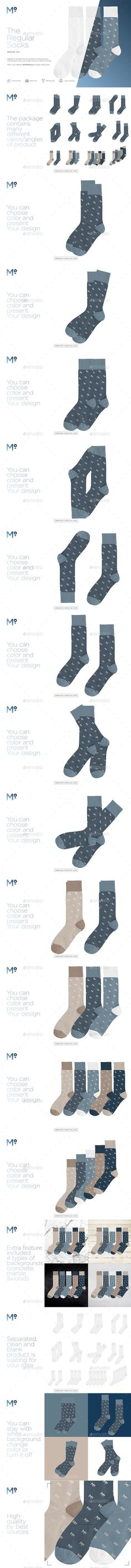 The Regular Socks Mock-up - Miscellaneous #Product #Mock-Ups Download here: https://graphicriver.net/item/the-regular-socks-mockup/19536001?ref=alena994