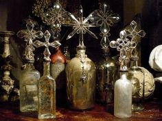 Beautiful crosses of crystal atop mercury glass apothecary bottles from the 1800s, antique leather decanters from Spain, and unearthed bottles over a century old have been added into the inventory.