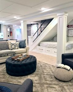 I've now become a basement aficionado after this job. We turned a dark damp space into a fully functioning area with a kitchenette, work… #BasementIdeas Bean Bag Chair, Dishes, Home Remodeling, House, Ideas, Furniture, Home Decor, Homemade Home Decor, Plate