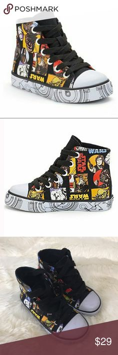 EUC! Rare Disney Star Wars High Top Sneakers 9 EUC! Rare Disney Star Wars High Top Sneakers. Size 9 toddler. Unisex. Awesome comic book style graphics. Barely worn. No flaws. Disney Shoes Sneakers