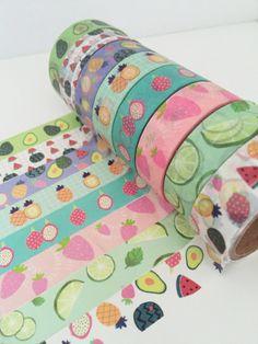 Fruit Washi Tape Set - 8 Roll Set, Pineapple Washi Tape, Watermelon Washi Tape, Strawberry Avocado Cucumber Fruity, Washi Tape Selection UK by TheSupplyHaven on Etsy