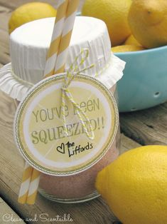 Lemonade in a jar! You've been squeezed! Perfect summer hostess gift!