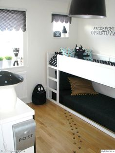 Project Nursery - Black and White Big Kid Room with Customized KURA Bed - Project Nursery