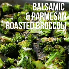 This healthy side dish recipe couldn't be simpler--or more delicious. Broccoli is roasted until brown and crispy, then topped with Parmesan cheese and balsamic vinegar for a savory and sweet flavor combination that can't be beaten. Try this quick vegetable dish along with chicken, fish or really any main course. It's also great in salads or warm grain bowls. Tip: Preheating the pan helps the broccoli to brown and develop nutty flavors. Frozen Broccoli Recipes, Baby Broccoli Recipe, Brocolli Recipes, Roasted Broccoli Recipe, Asparagus Recipe, Recipe For Brocolli, Roasted Brocolli, Roast Broccoli And Cauliflower, Grilled Broccoli