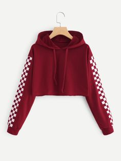 Contrast Checked Sleeve Crop HoodieFor Women-romwe