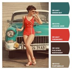 Vintage Turquoise Red