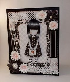 Loves Rubberstamps Challenge Blog - Challenge 78 - Black & White or Sepia Color Challenge - Design team member Marcy Dangcil using Gorjuss Girls