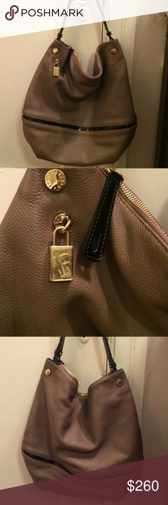 Beautiful Furla Hobo Bag Leather Furla Bag. Grayish Brown color with black. Gold hardware. Zippered top, zippered inside pocket. Approximate measurements 15 inch W 14 1/2 inch L 4 1/2 D. Excellent condition. Only used a few times Furla Bags Hobos