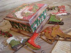 """Купить Шкатулка """"Коньки"""" - коньки, набор, ретро, винтаж, подарок, Новый Год, купить подарок"""
