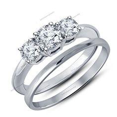 CZ 2pcs 925 Sterling Silver Bridal Wedding Engagement Rings Set Sz 6,7.8.9.10.11…