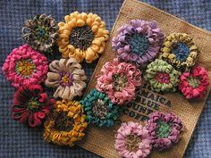 hooked wool flower pins