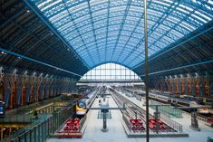 St Pancras London - this neo-Gothic - red brick façade won raves when it was unveiled in 1868. And it's in the news again. After a 20th-century decline, St. Pancras got a recent £800 million makeover. Workers cleaned 300,000 pounds of dirt from the bricks and restored 8,000 panes of glass in the roof of the immense train shed. As a result, the station looks its part as one of the finest Victorian landmarks in London.