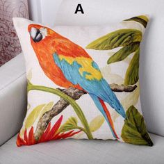 Parrot Bird throw pillow home decoration couch cushions 18 inch