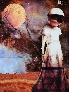 """Saatchi Online Artist: Erin Case; Paper, 2012, Assemblage / Collage """"Moon Balloon"""""""