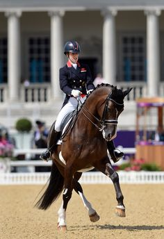 Charlotte Dujardin and Valegro....I think it is absolutely amazing how a horse when doing a half pass all of its legs are on a different track as apposed to say a shoulder in where their legs are on three different tracks or a walk where all of their legs are on one track