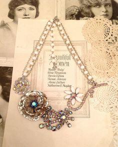 Vintage Flower Blue AB Rhinestone Brooch Statement Necklace $35