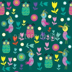 #Papageno In #Birds #Paradise #Pattern #Design #vector #RF #seamless #tile #tileable   #flowers #floral #seamless #pattern #doodle #birds #animals #coo #sing #flora #fauna #nature #abstract #cartoons #garden #summer #spring #tile #tileable #background #texture #print #textile