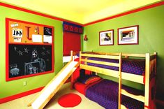 Entrancing Wall Color Paint Ideas For Boys Room Design With Wooden Bunk Bed Along Slide Also Purple Sheet Black Board On The Kids Bedroom Designs S Boys Bedroom Colors, Bedroom Color Schemes, Room Ideas Bedroom, Small Room Bedroom, Home Decor Bedroom, Nautical Bedroom, Bedroom Boys, Decor Room, Bedroom Themes