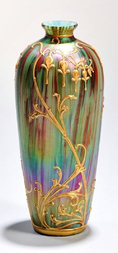 Harrach Jaspis Glass Vase, Bohemia, c. 1900, designed by Jan Koula