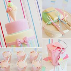 A sweet girl's ice cream party is packed with pastels, sprinkles and ice cream in various forms!