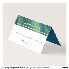 Shop Sweeping Seagrass Custom Wedding Place Card created by GrandviewGraphics. Wedding Places, Wedding Place Cards, Wedding Reception Decorations, Wedding Table, Shades Of Green, Elegant Wedding, Cards Against Humanity, Wedding Venues, Wedding Seating Signs