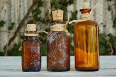 Vintage Antique Amber Glass Bottles/Brown by SycamoreVintage