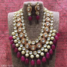 VeroniQ Trends- Replica Sabyasachi Designer Kundan Necklace Set in Multilayer Pearls & Faux Ruby Stones-Flaunt it With Saree/Coctail Dress- Handmade item. Material: Brass, Glass, Gold, Silver, Stone Kundan is a traditional form of Indiangemstone jewellery Indian Jewelry Sets, India Jewelry, Gold Jewelry, Diamond Jewellery, Beaded Jewellery, Jewellery Earrings, Ruby Earrings, Tiffany Jewelry, Diamond Bracelets