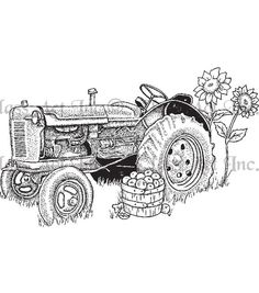 "Class Act Cling Mounted Rubber Stamp 3""X5.5""-Tractor"