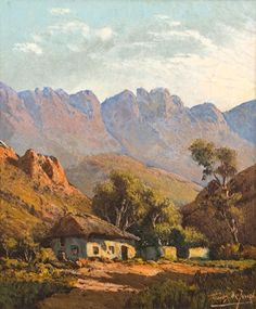 Artwork by Tinus de Jongh, Cape Landscape with Cottage, Made of oil on canvas Watercolor Landscape, Landscape Art, Landscape Paintings, Oil Paintings, South Africa Art, Friedrich Schiller, African Paintings, South African Artists, Winter Painting