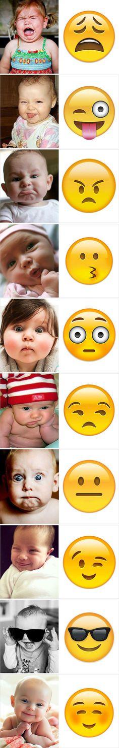 Babys und ihre Emoji-Doppelgänger