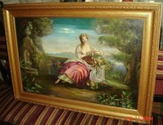ANTIQUE-STUNNING ITALY C.1690 LADY FULL PORTRAIT IN GARDEN,FLOWERS OIL PAINTING
