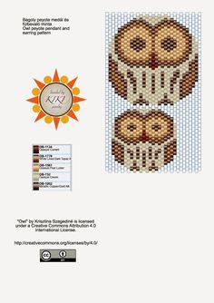 KIKI GYÖNGYEI: Bagoly medál és fülbevaló minta - pattern