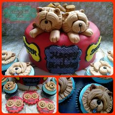 Chow dog cake, cupcakes and cookies