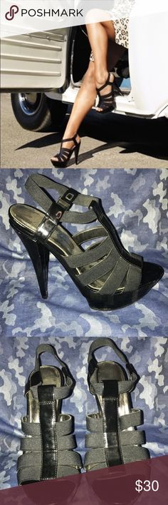 Jessica Simpson Heels Black patent leather strap sandals Jessica Simpson Shoes Heels