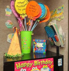 A giant Pixy Stix attached to a Balloon card makes a great gift from the Teacher! In the birthday box are suckers and bookmarks to choose from too.